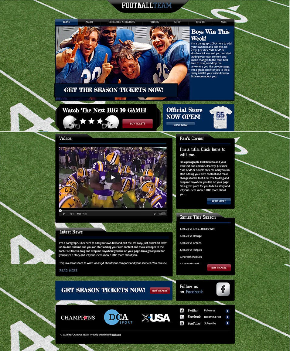 Football Team Website Template WIX1