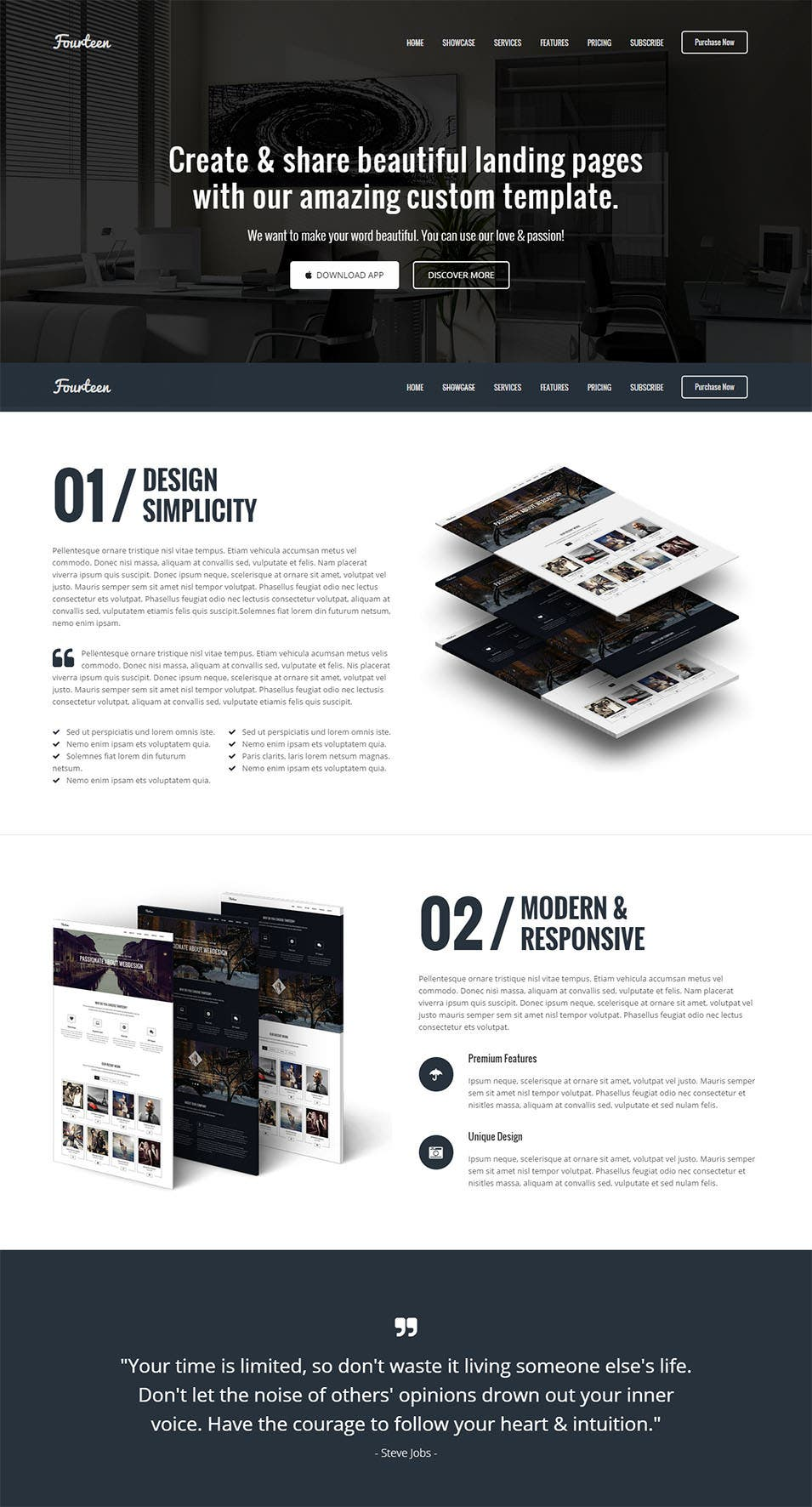 fourteen responsive landing page template