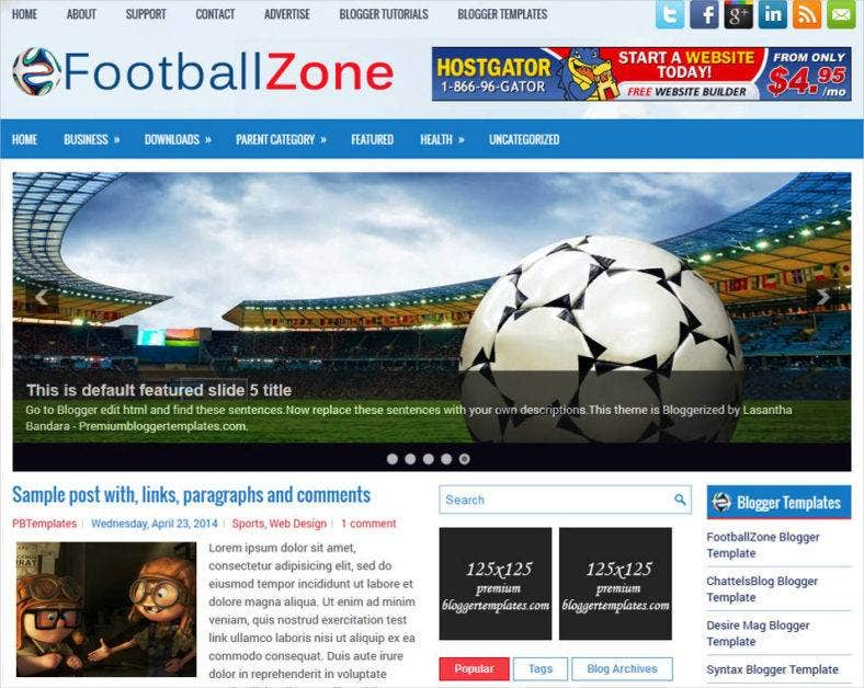 free football blogger website template 788x628