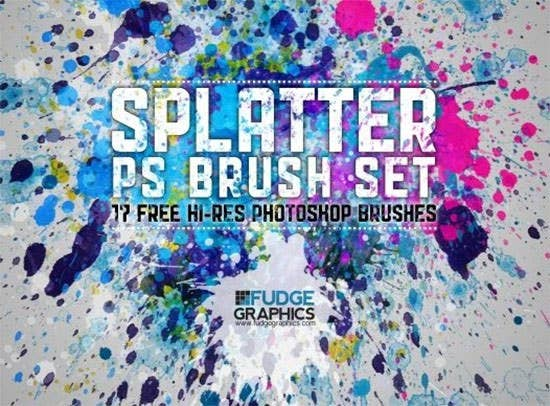 free hi res splatter photoshop brush set