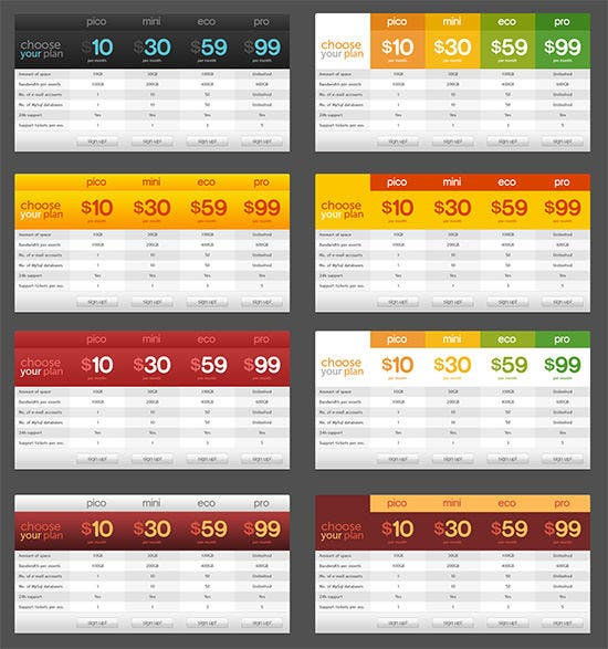 free pricing tables ui psd