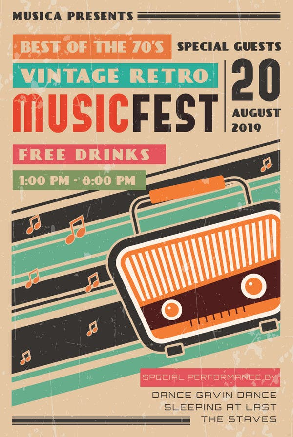 40  best collection of vintage retro music posters to download