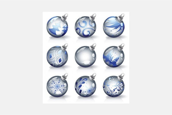 Vector Christmas crystal texture of christmas balls vector