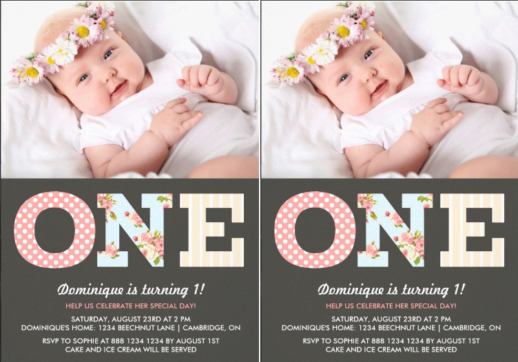 girly shabby chic first birthday photo invitation zazzle