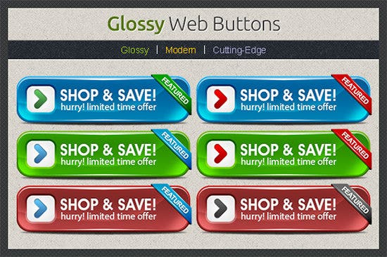 glossy web buttons ui design
