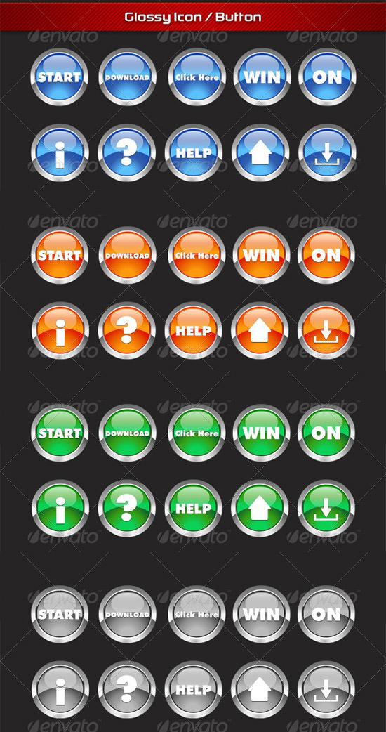glossy web round button design set