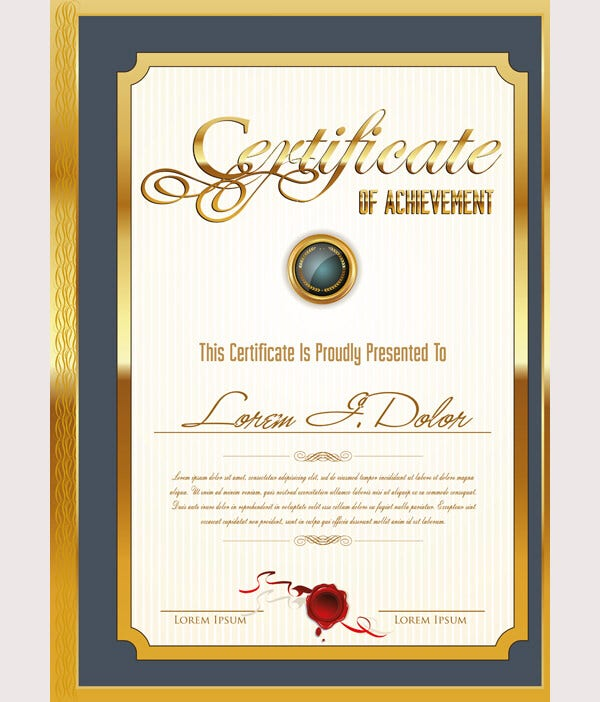 52 printable certificate templates free psd ai vector eps golden frame certificate template yadclub Image collections