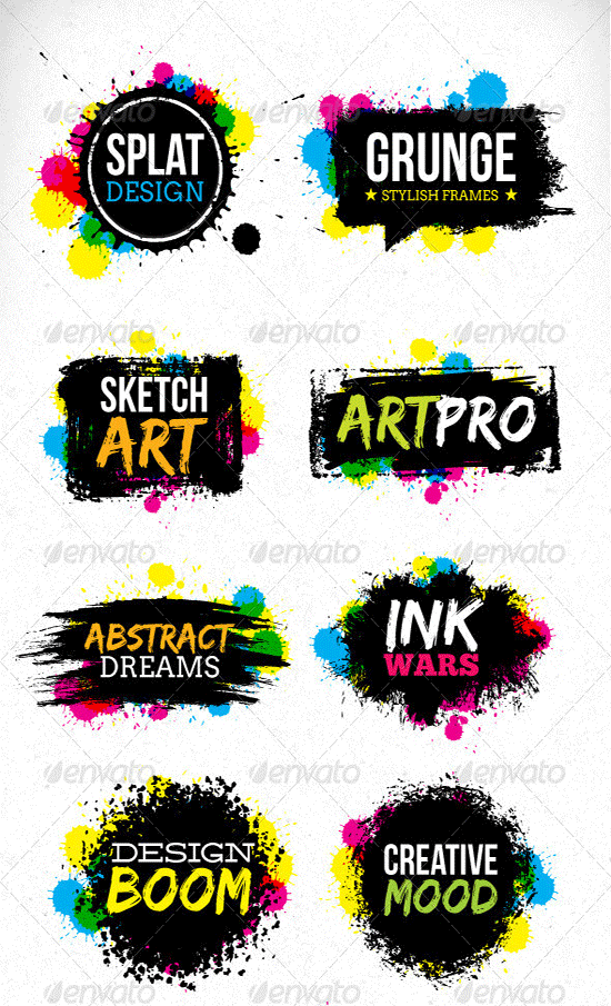 grunge blot brush vector