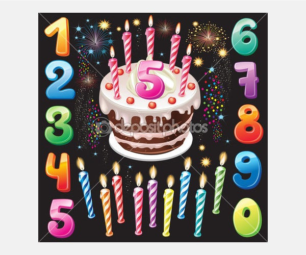 Happy Birthday cake, numbers and firework - Stock Illustration