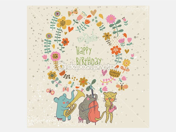 Happy birthday card. Cartoon funny animals elephant