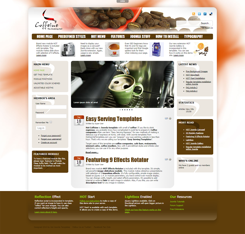 hot coffeine joomla cafe template