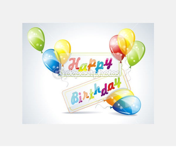 Illustration of birthday card with balloons - Stock Illustration