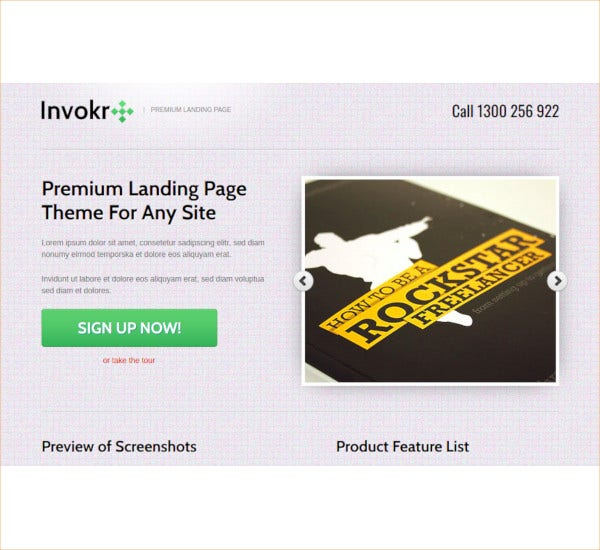 internet marketing invoker premium landing page