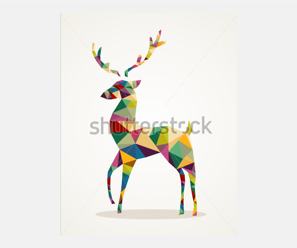 Isolated Merry Christmas colorful abstract reindeer with