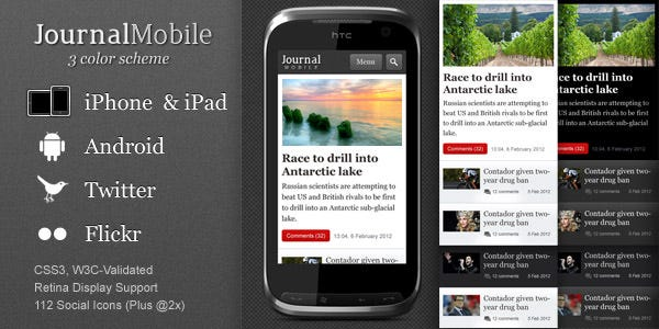 journalmobile mobile template