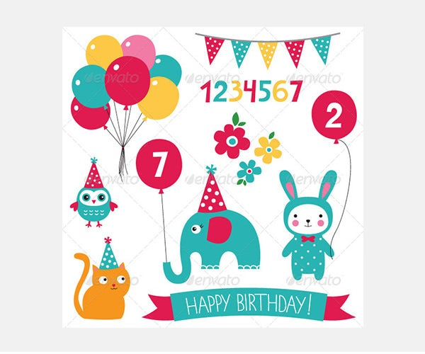 Kid Birthday Vector Set