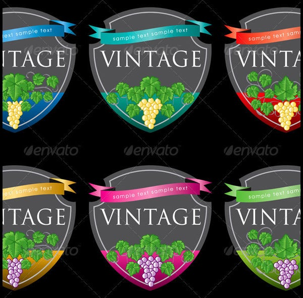 labels wine design template set