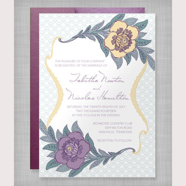 Lace Flowers Invitation Template
