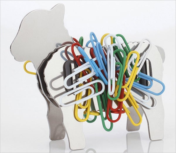 lamb sheep design binder paper clip holder