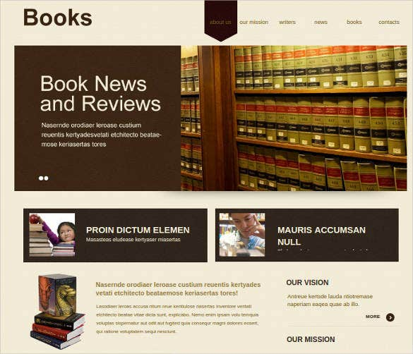 library books website template