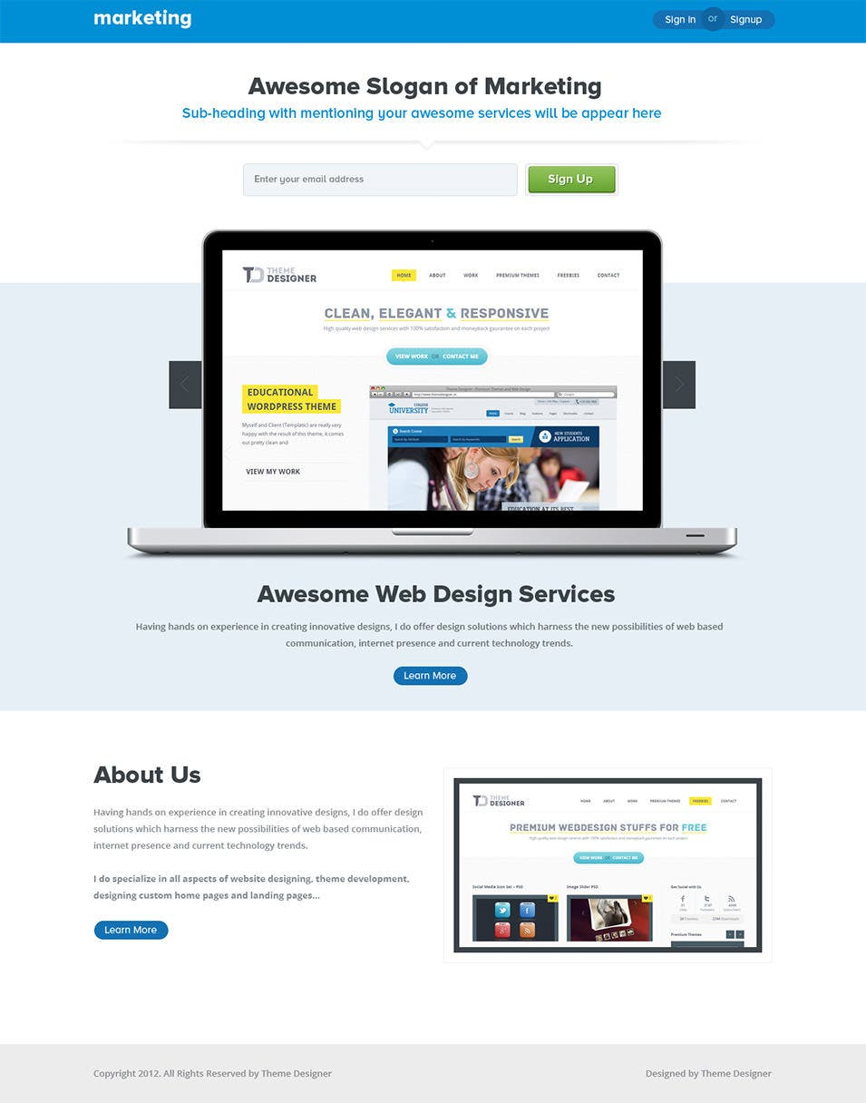 30+ Best Internet Marketing Landing Page Templates | Free & Premium ...