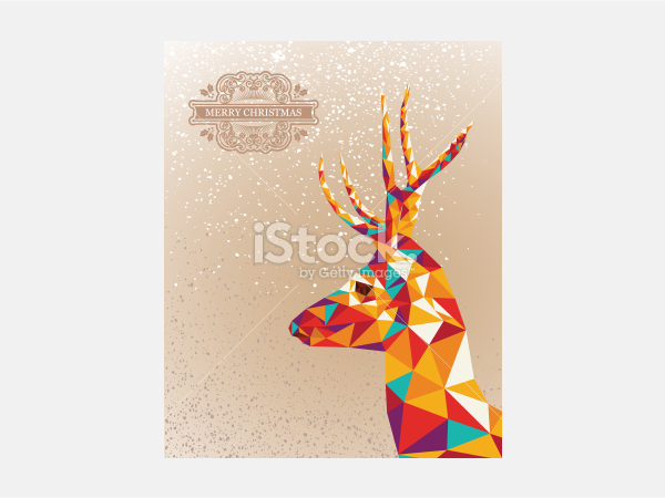Merry Christmas colorful abstract reindeer - Illustration