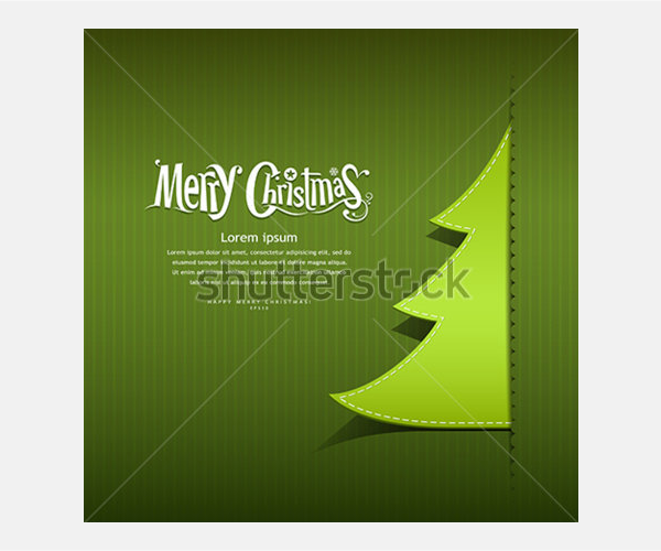 Merry Christmas ribbon paper green tree design greeting card