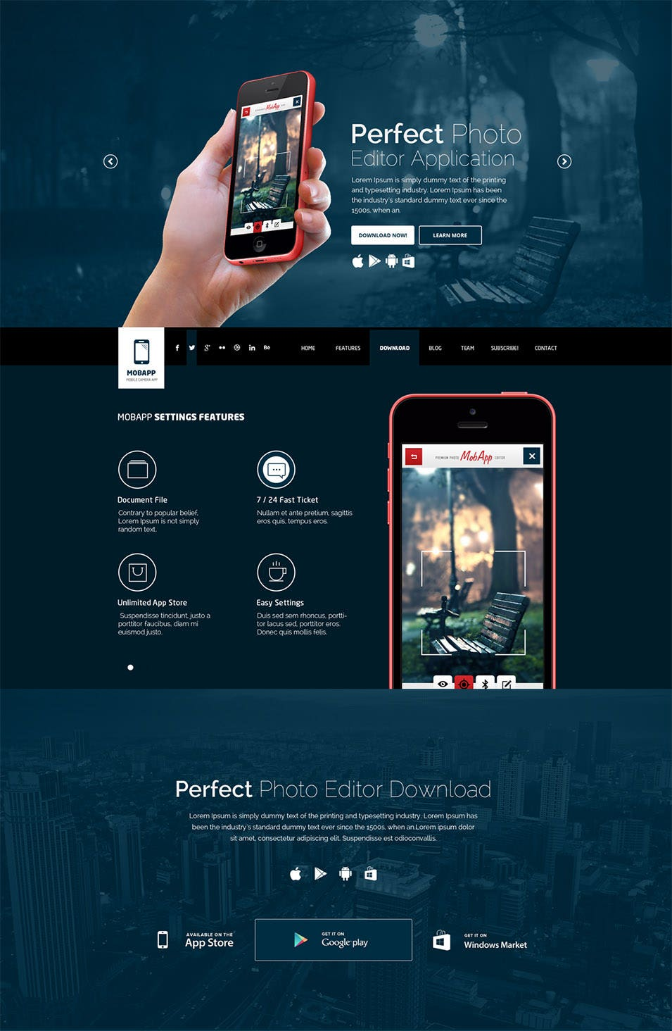 mobapp one page app landing page