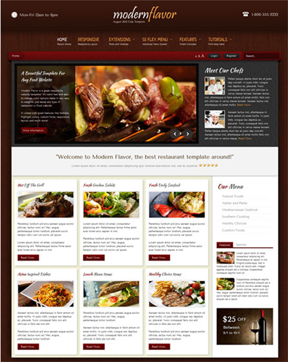 modern flavor august 2012 joomla club template