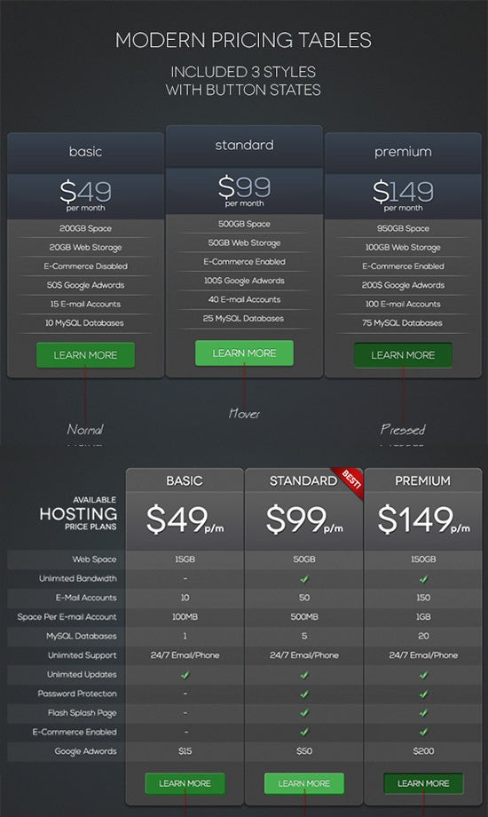 modern pricing tables