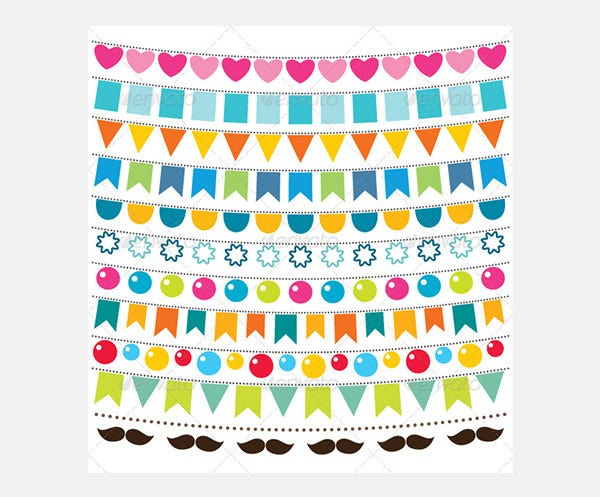 Multicolor Vector Bunting Set