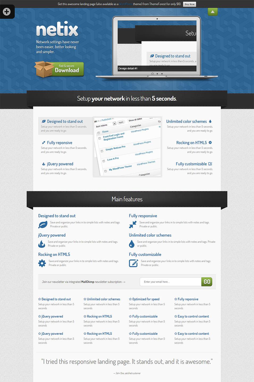 netix responsive landing page