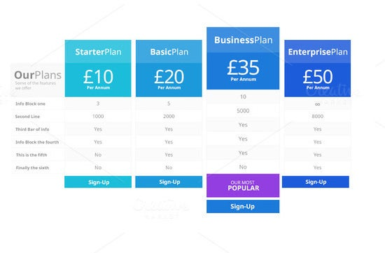 psd price table design