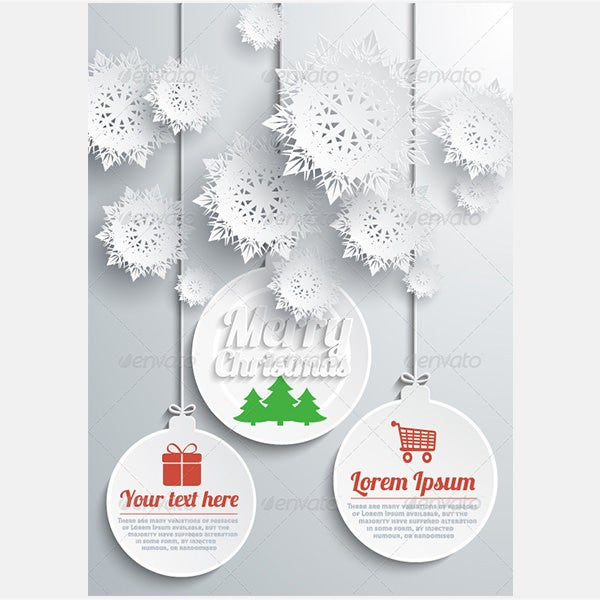 Paper Snowflakes Merry Christmas Text with Balls