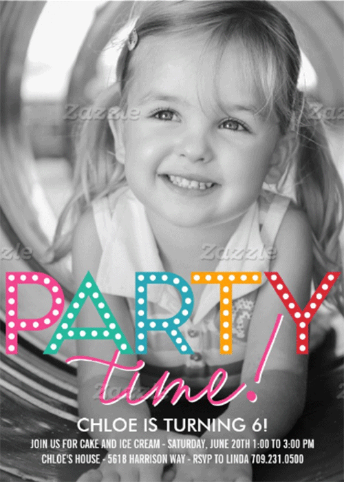 party time photo birthday invitation personalized invites zazzle