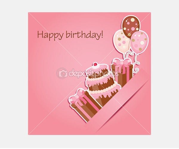 Pink birthday card - Stock Illustration
