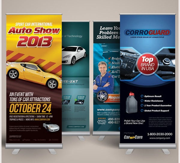 premium automotive business roll up banners