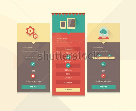 price table vector ui design