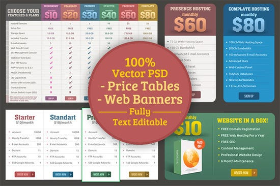 pricing table web elements