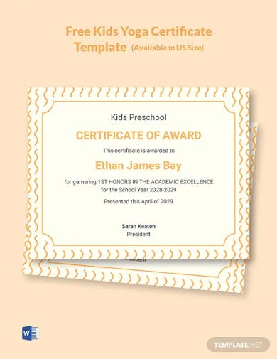 printable certificates for kids template