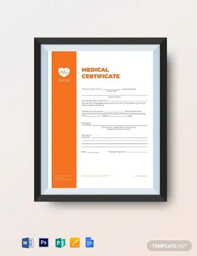 printable medical certificate template