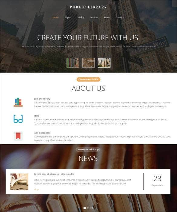 public library website template1