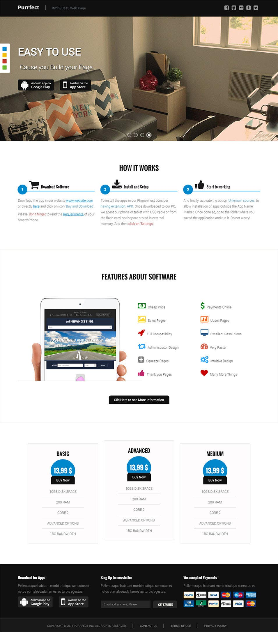 purrfect responsive html5 css3 software landing page
