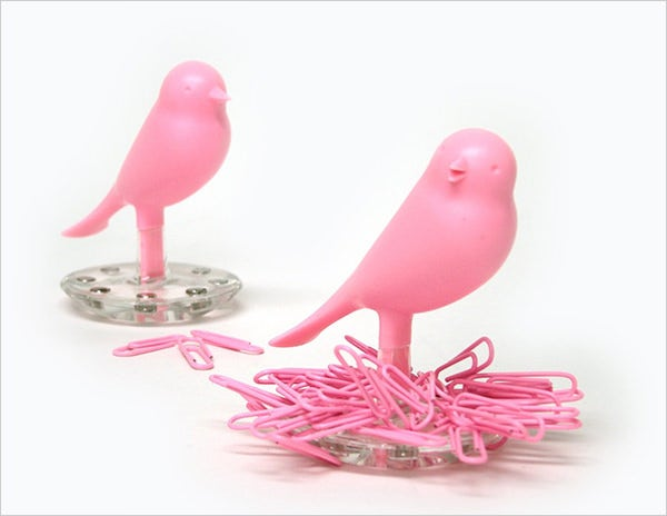 qualy nest sparrow paper clip holder