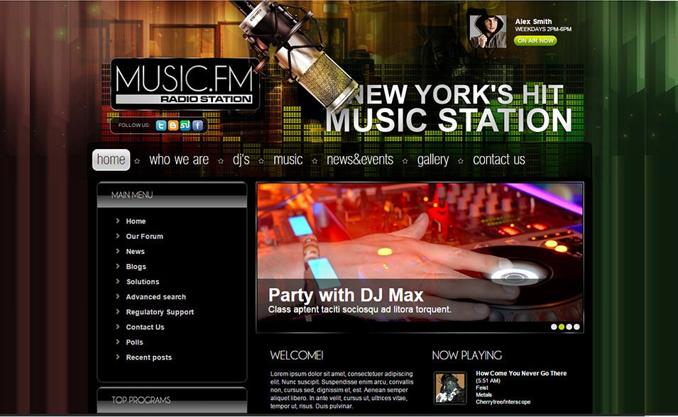 Online radio joomla website templates themes free for Radio schedule template