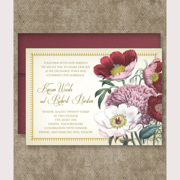 Red Poppy Invitation Template