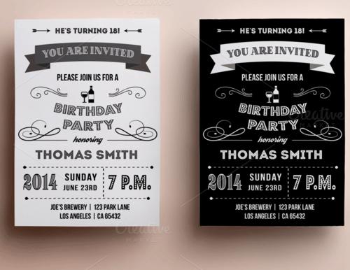 retro birthday invitation1