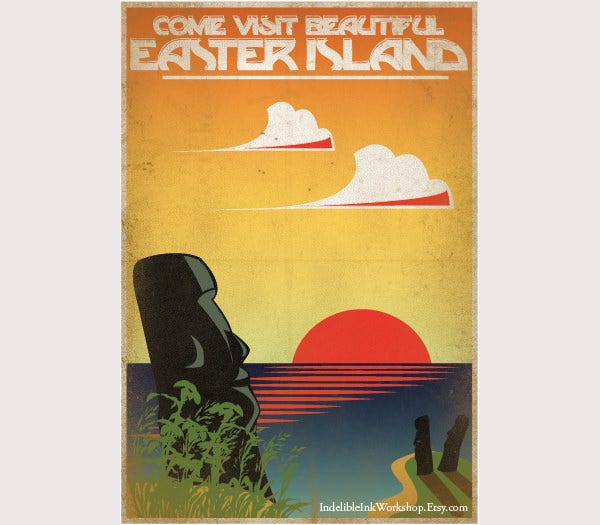 Retro Easter Island Travel Poster