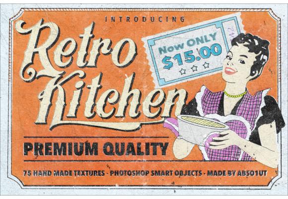 retro kitchen in psd