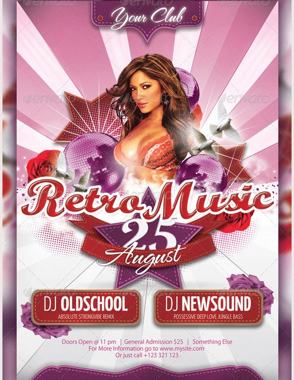 retro music flyer poster template